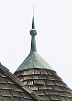 Mounted Copper Turret Finial with Patina