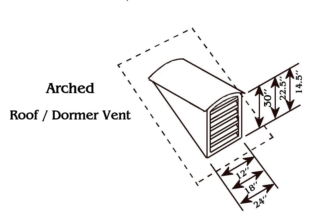 Arch Top Copper Roof Vent / Dormer Vent Drawing