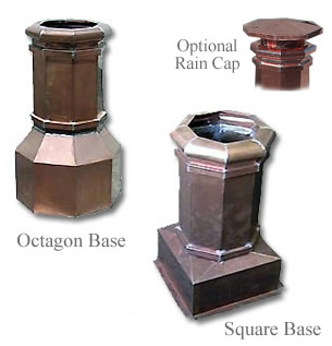 Copper Chimney Pots - Square and Octagon