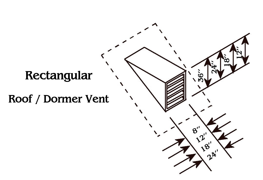 Rectangular Copper Roof Vent / Dormer Vent Drawing