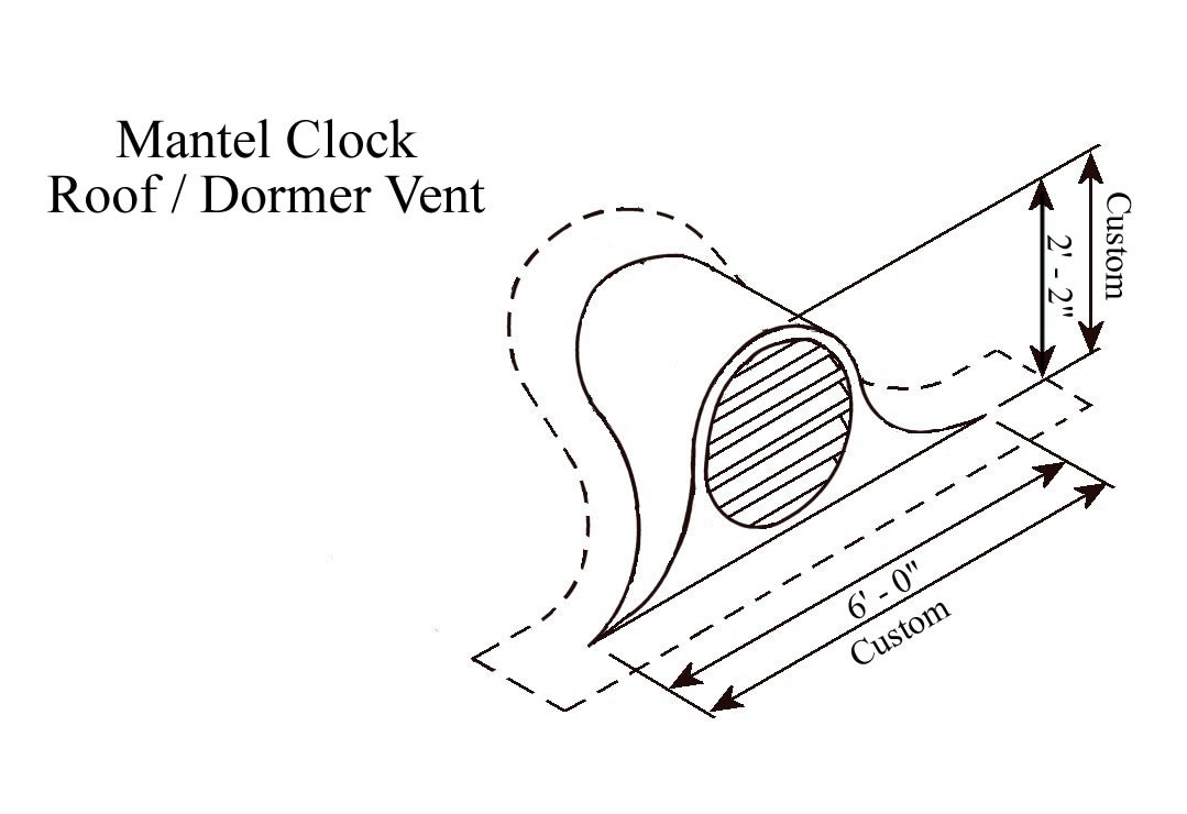 Mantel Clock Copper Roof Vent / Dormer Vent Drawing