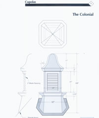 Signature Series Colonial Copper Cupola Drawing
