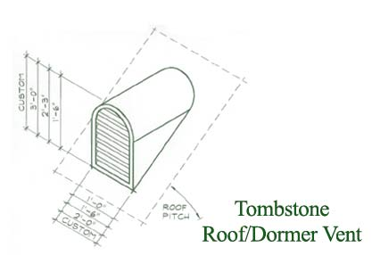 Tombstone Copper Roof Vent / Dormer Vent Drawing